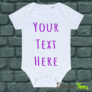"""Personalised """"Your Text"""" Funny Baby Vest Bodysuit Perfect Gift Xmas Christening"""