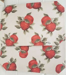 """SET OF 2 SAME LINEN FABRIC PRINTED PLACEMATS 12"""" x 18"""", RED APPLES by BH"""