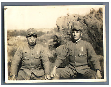 Japan, Japanese soldiers  Vintage silver print.  Tirage argentique  8x10,5