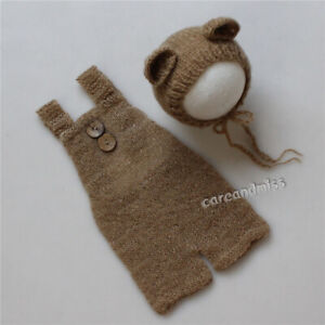 Newborn Studio Photo Shoot Photography Clothes Baby Mohair Bear Suspende And Hat