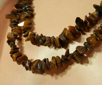 XX Beautiful Long Brown Chunky Vintage 70's Tiger Eye Necklace 115O5