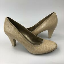 Sam & Libby Elva Pumps Size 9 Round Toe High Heels Beige Faux Leather Croco