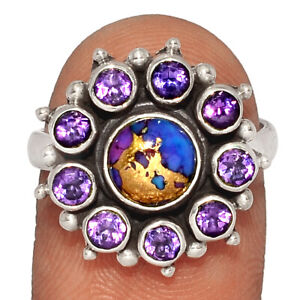 Copper Purple Turquoise & Amethyst 925 Silver Ring Jewelry s.7.5 BR45534