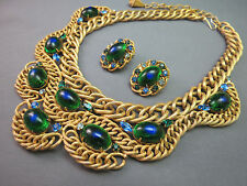 VTG Brania Bib Necklace Mimi Di N Collar Parue Blue Rhinestones Peacock Eye Cabs