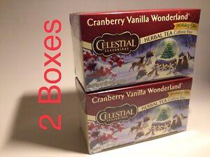 Celestial Seasonings Cranberry Vanilla Herbal Tea 20 Tea Bags (2 Boxes) 11/2021