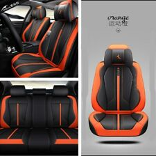 5 Sits Full Surround Car Seat Cover Cushion Set Black&Orange Microfiber Leather