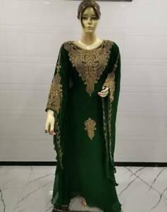 Dubai Kaftan Green Maxi Fancy Islamic Arabian Abaya Jalabiya Wedding Gown Wear
