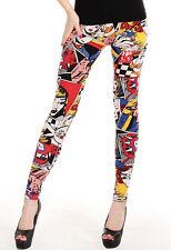 Comic Cartoon Muster Leggings Leggins Treggings Hose Leggin bunt 34 36 38 S M