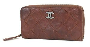 Authentic CHANEL Brown Leather CC Long Zippy Wallet Coin Purse #40276