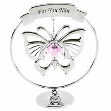 CRYSTOCRAFT FOR YOU NAN  - WITH PINK BUTTERFLY SWAROVSKI CRYSTAL ELEMENTS GIFT