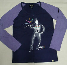 NEW INSIGHT LONG SLEEVE TOP NAVY PURPLE SKELETON TOP HAT JR'S SIZE MEDIUM