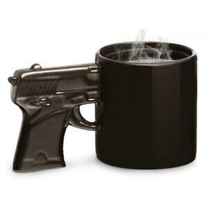 Revolver Gun Handle Coffee Tea Mug Cup - Black   pistol police military army wea