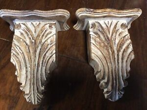 Vintage Corbel Bracket Chippy Old Style White Painted Finish 8 1/2 Inches Tall