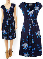 New Monsoon size 8 - 12  Navy Blue Floral Rhona Fit & Flare Party Print Dress