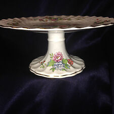 """CROWN STAFFORDSHIRE ENGLAND PAGODA FOOTED CAKE PLATE 9"""" FLOWERS BIRDS GOLD TRIM"""