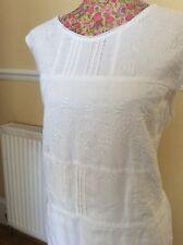 Monsoon Harper White  Linen Embroidered Cotton Dress S 20 22 Pristine Hols 9.5