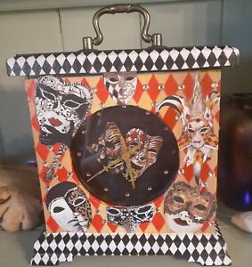 Masquerade Mantle Clock.Handmade clock, and hand painted. Unique, unusual gift