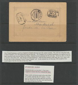 Spain 1888 Postal stationary Card with Too Late mark