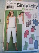 SIMPLICITY No 9269 size 16-22 OOP 2005 TOPS~PANTS~SHORTS~6 sewing patternS