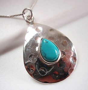 Blue Turquoise Hammered Teardrop 925 Sterling Silver Pendant Corona Sun Jewelry