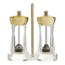 Se Of 2 Golden Top Pepper Salt Mills Clear Kitchen Spice Grinders With Stand New