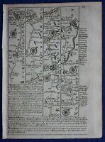 WENDOVER, AYLESBURY, BANBURY, STRATFORD, original antique road map, Bowen, 1759