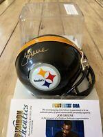 Joe Greene Autographed/Signed Mini Helmet COA Pittsburgh Steelers Mean HOF A