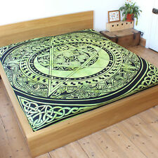 FairTrade Green New Celtic Pentacle throw Double Bedspread cover Pentagram Wicca