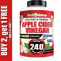 Apple Cider Vinegar Tablets ACV 1245mg Weight Loss, Detox, Keto Diet 240 Pills