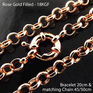 Necklace & Bracelet Real 18k Rose Gold Filled Solid Boltring Belcher Link Chains