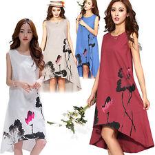 Plus Size Floral Print Dress Beach Sleeveless O-Neck Cotton Linen Long Dresses