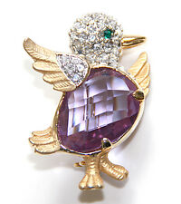 NEW RUCINNI LARGE PURPLE CLEAR SWAROVSKI CRYSTALS DUCKLING PIN BROOCH GOLD TONE