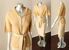 Wool Nautical Collar Vintage 50s Plaid Camel Reversible Pencil Coat Skirt Suit M