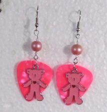 Pink I Love You Bear w Pearl Dangle Wire Earrings