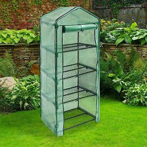 Lynen 4 Tier Mini PVC Plastic Greenhouse Outdoor Garden Steel Frame Grow House