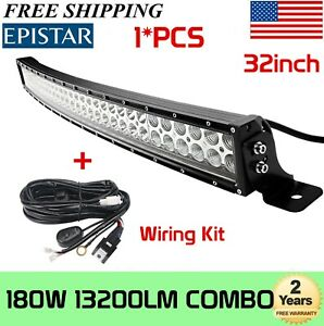 "180W 32""inch Curved LED Light Bar Truck GMC Ford Offroad 4WD 150W+Wiring Harness"