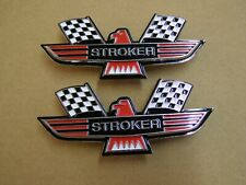 Ford Stroker Crossed Flag Fender Emblems Red Mustang Fairlane Galaxie Falcon +