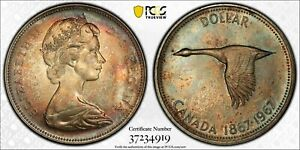 1967 CANADA SILVER DOLLAR PCGS MS65 TRUE VIEW UNC BU TONED COLOR MONSTER