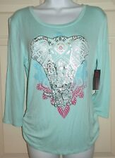 New Juniors Medium 7-9 Elephant T-Shirt Rayon Cinched Sides Keyhole Back
