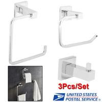 3X Chrome Bathroom Hardware Accessories Set Toilet Roll Holder & Robe Hook