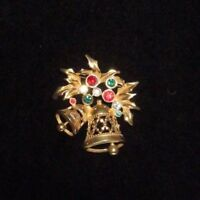 Avon Pin Brooch Holiday Cheer Gold Tone Christmas Bells Rhinestone Collection