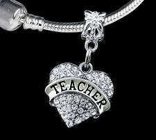 Teacher charm   fits european bracelet  teacher Crystal heart charm  (Charm only