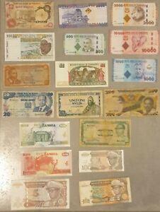 BILLET AFRIQUE, Lot de 18 Billets Afrique subsahariènne.
