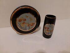 Vintage Chokin Art Butterfly and Iris Matching Miniature Vases (2) Japan    (S7