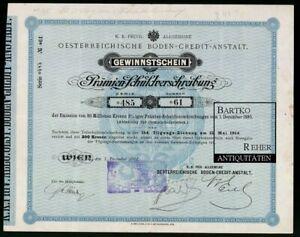 Aktie-Wertpapier 1914 Gewinnstschein Wien Österreichische Boden-Credit-Anstalt