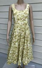 Talbots 6 Yellow Gold & White Floral Cotton Fit & Flare Sleeveless Dress