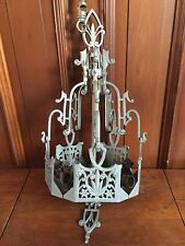 Antique LINCOLN LIGHTING Art Deco SLIP SHADE Chandelier Vintage LIGHT FIXTURE