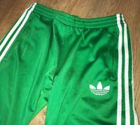 Adidas Originals mens rare shiny green tracksuit track bottoms pants size S