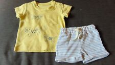 M&S 2 Part 100%Cotton 'Leopards' Shorts & T-Shirt Set 0-1m 54cm Yellow Mix BNWT