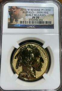 2013 W $50 Reverse Proof Gold Buffalo NGC Rev PF 70 Box & Cert